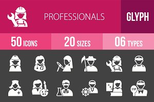 50 Professionals Glyph Inverted