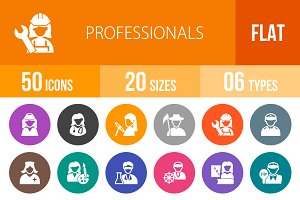 50 Professionals Flat Round Icons