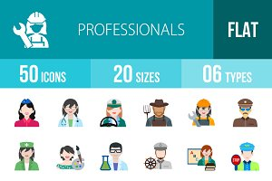 50 Professionals Flat Multicolor