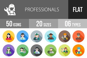 50 Professionals Flat Shadowed Icons