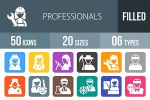 50 Professionals Flat Round Corner