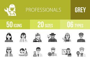 50 Professionals Greyscale Icons