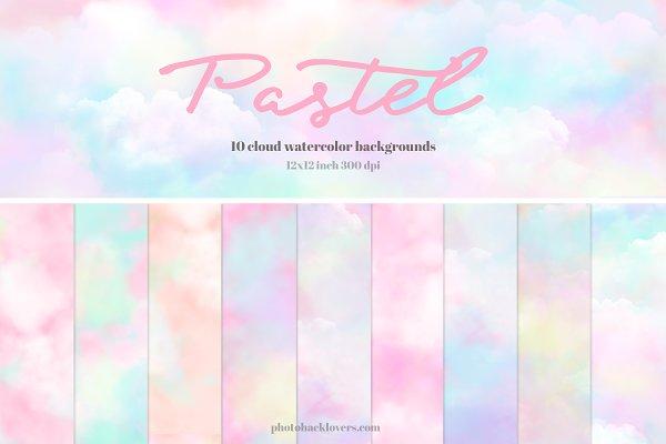 Pastel Watercolor Cloud backgrounds
