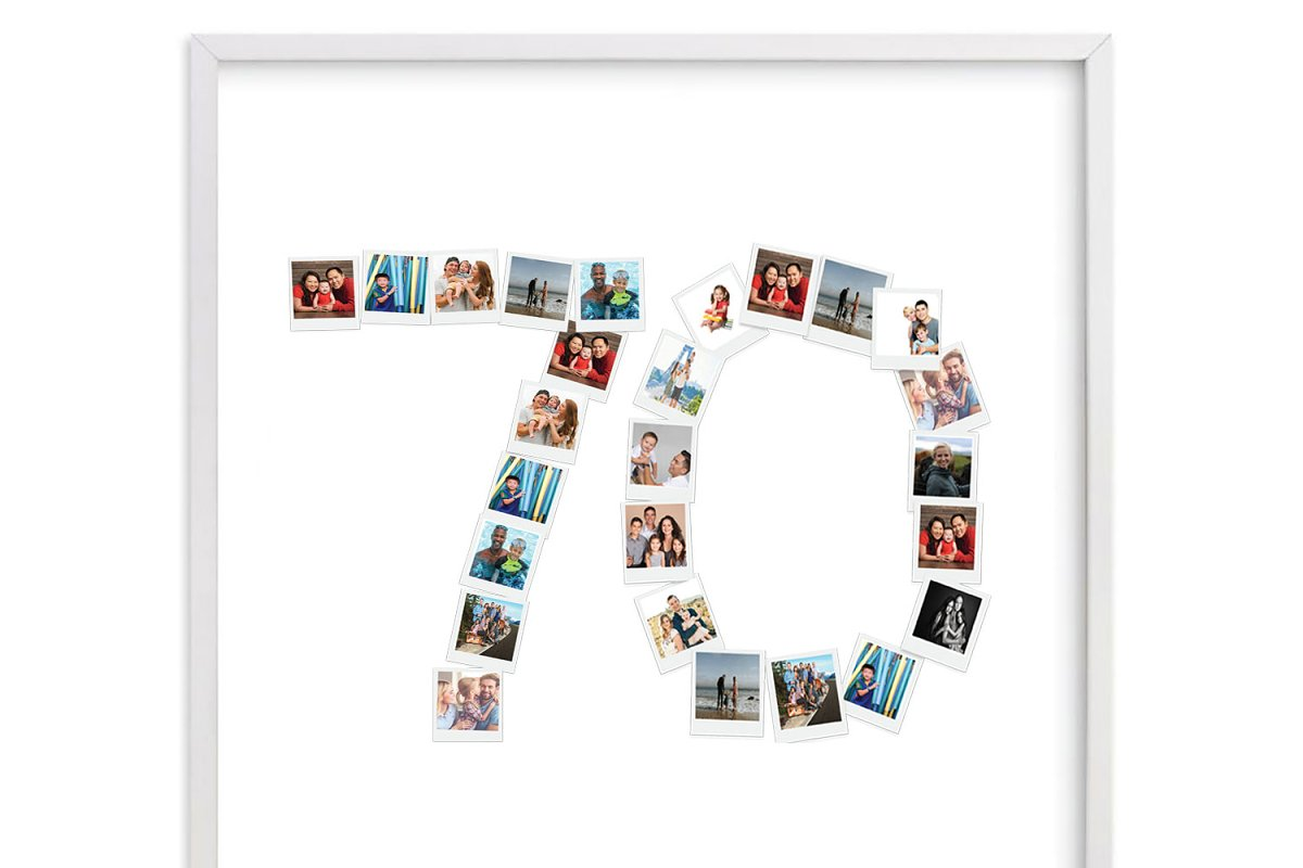 number 70 photo collage template