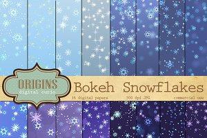 Snowflake Bokeh Digital Paper