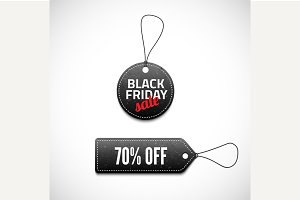 Black Friday sales tag set.