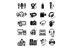 Digital devices in black colour icon