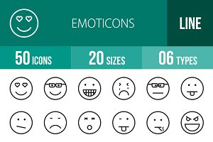 50 Emoticons Line Icons