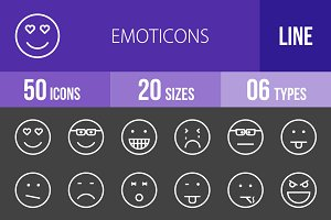 50 Emoticons Line Inverted Icons