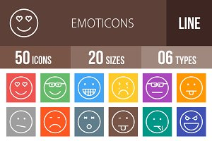 50 Emoticons Line Multicolor Icons