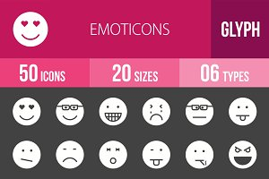 50 Emoticons Glyph Inverted Icons