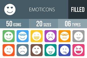 50 Emoticons Flat Round Corner Icons