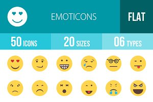 50 Emoticons Flat Multicolor Icons