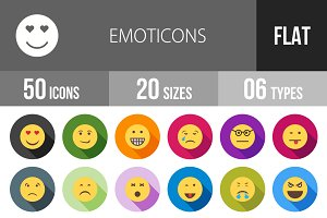 50 Emoticons Flat Shadowed Icons