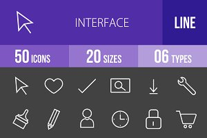 50 Interface Line Inverted Icons