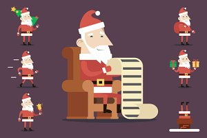 Santa Claus Cartoon Icons Set