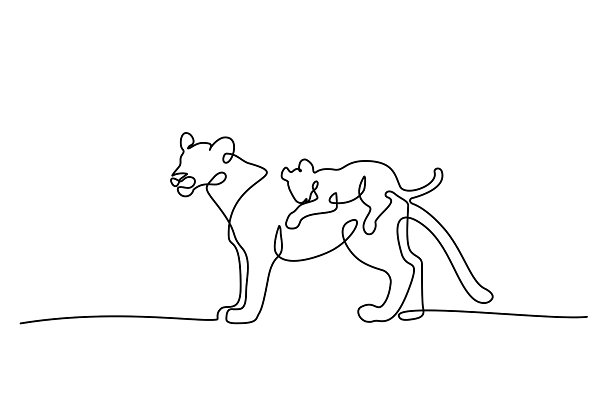 Young Lioness With Lion Cub One Line Pre Designed Vector Graphics Creative Market Lion cubs being kept illegally in europe are unlikely to have been born in the wild, officials say. young lioness with lion cub one line
