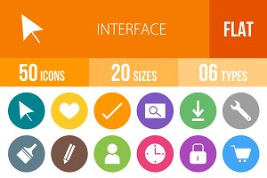 50 Interface Flat Round Icons