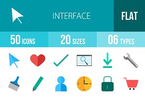 50 Interface Flat Multicolor Icons