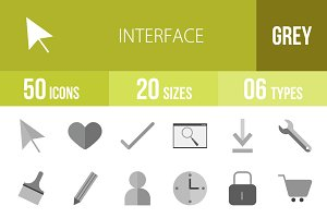 50 Interface Greyscale Icons