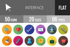 50 Interface Flat Shadowed Icons