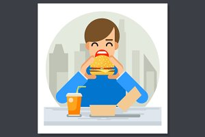 Happy Man Eating Hamburger Sandwich