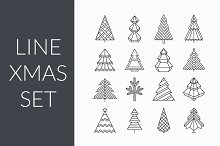 Line Christmas set (cards and icons)