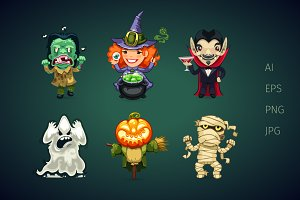 Set of Cartoon Halloween Characters