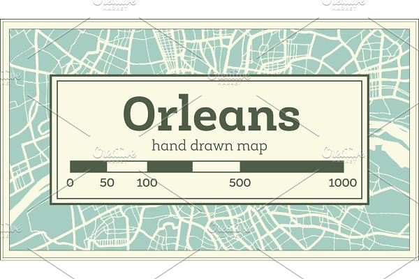 Orleans France City Map in Retro