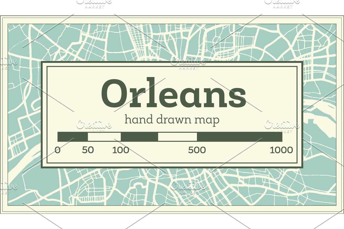 Orleans France City Map in Retro in Illustrations - product preview 8