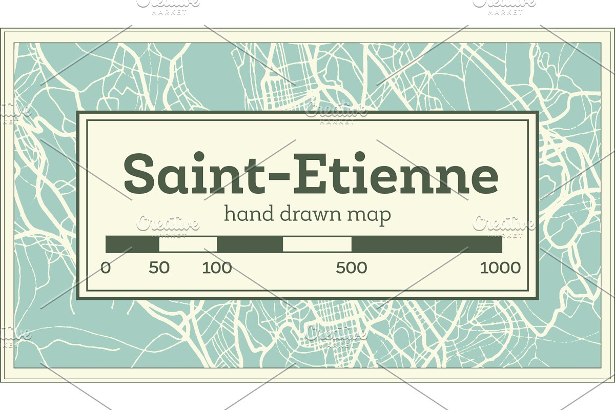 Saint-Etienne France City Map in Illustrations - product preview 8