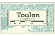 Toulon France City Map in Retro