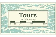 Tours France City Map in Retro Style