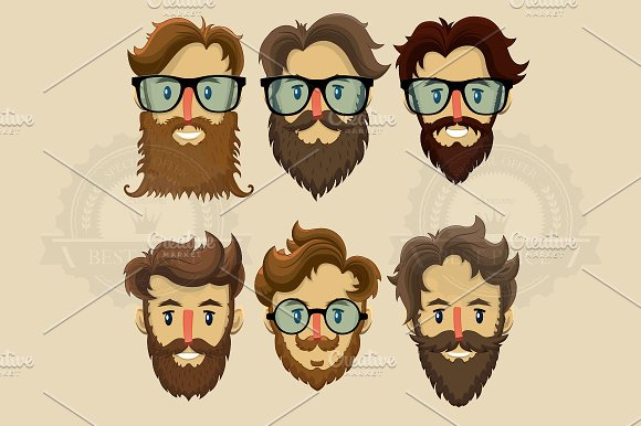 Hipster Characters Subculture Illustrations Creative Market