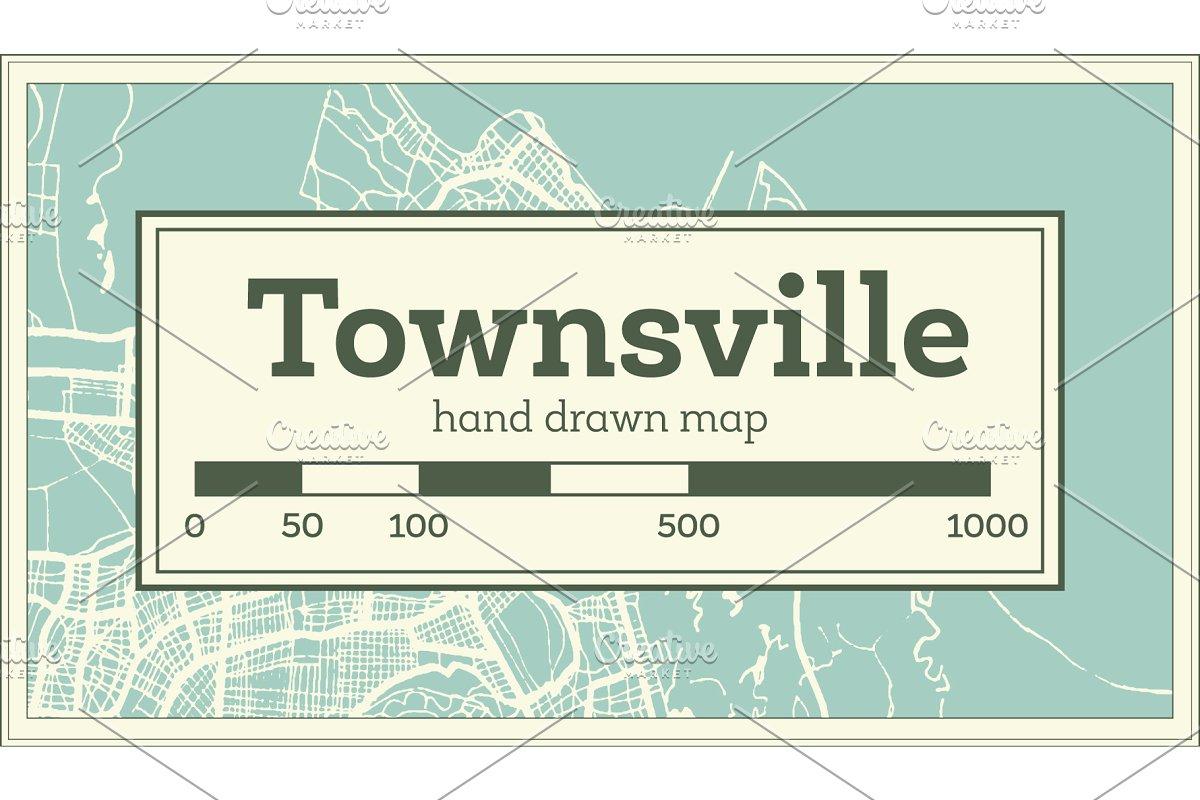 Map Of Australia Townsville.Townsville Australia City Map Illustrations Creative Market