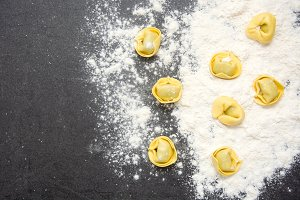 Pasta and flour on the table