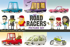 Road Racers Vector Set