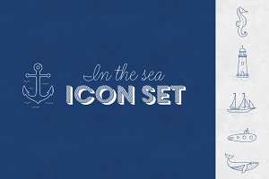 In the sea - vector linear icon set
