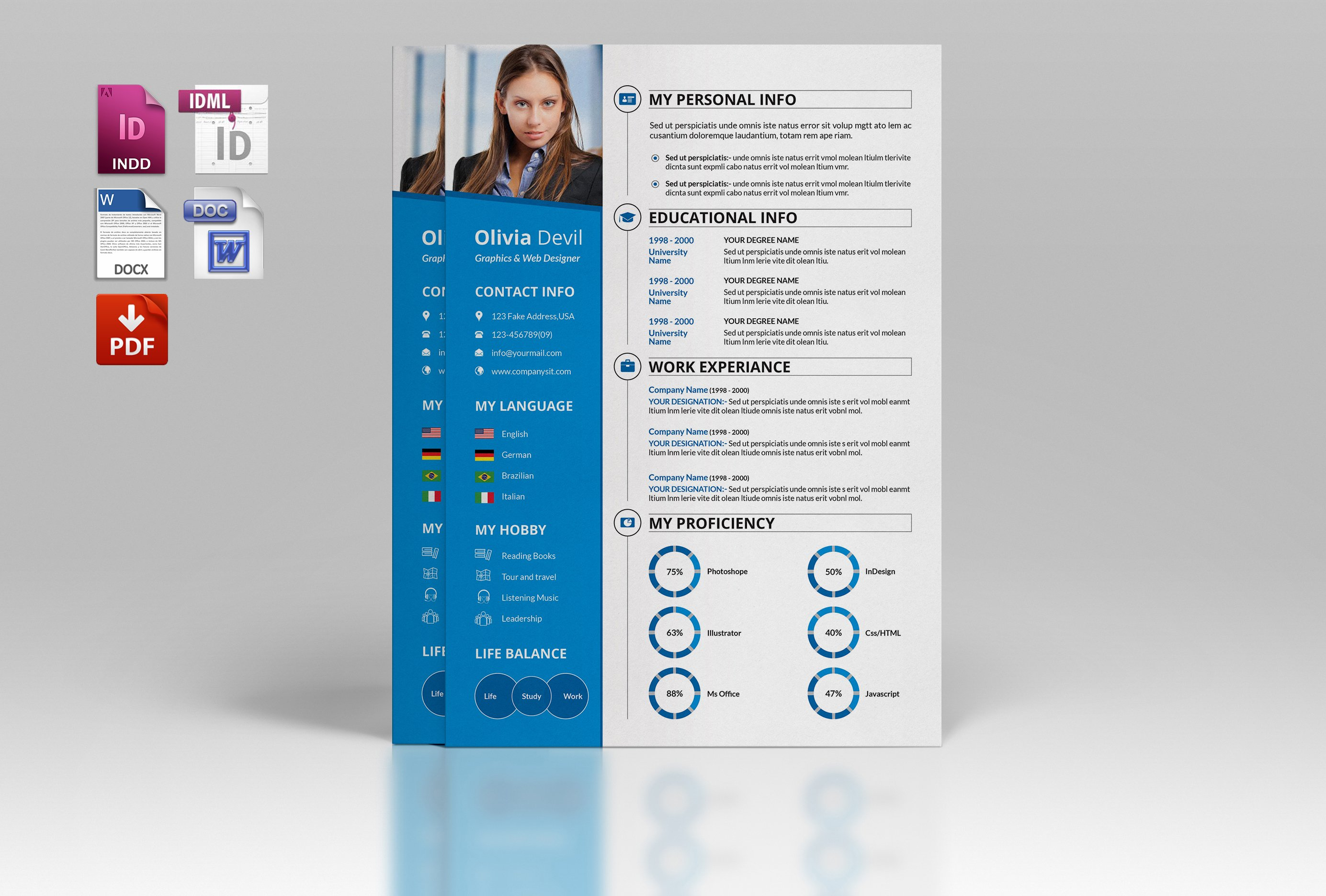 Resume Template Cover Letter V06 Resume Templates Creative Market