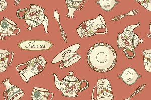 3 seamless pattern with dishware