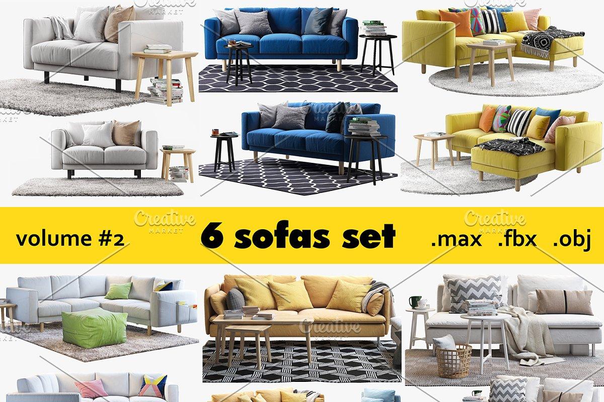 6 Sofa Set 3d Model Furniture Models Creative Market