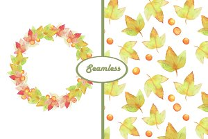 Autumn leaves. Watercolor seamless