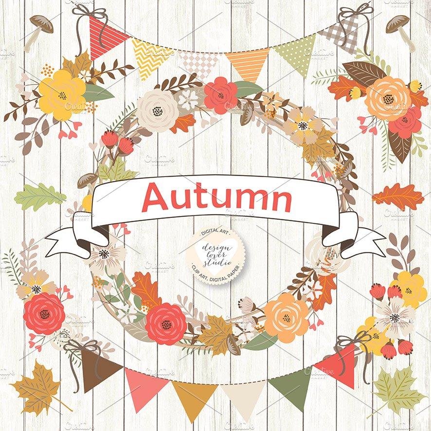 Vector Rustic Autumn Cliparts Illustrations Creative Market