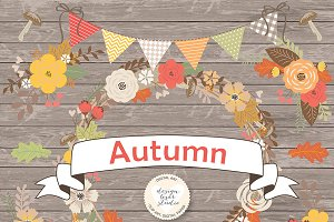 Vector Rustic Autumn cliparts