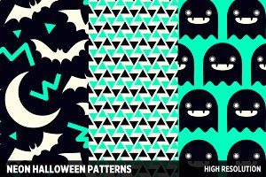 Neon Halloween Patterns