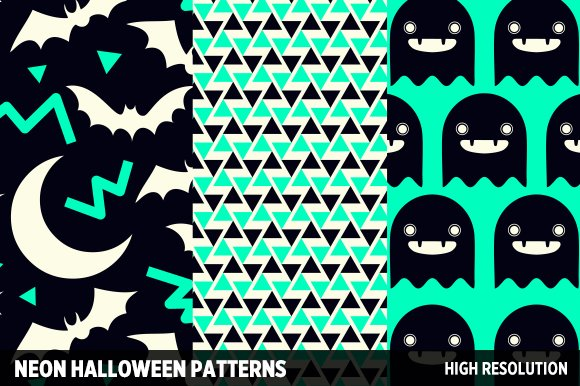 Neon Halloween Patterns ~ Patterns ~ Creative Market