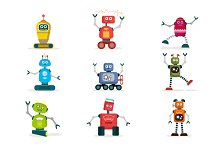 Set of colorful robots flat icons.