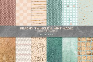 Peachy Mint Gold & Textured Patterns