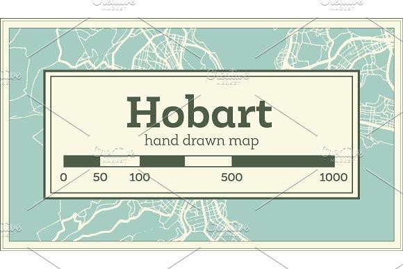 Australia Map Hobart.Hobart Australia City Map In Retro