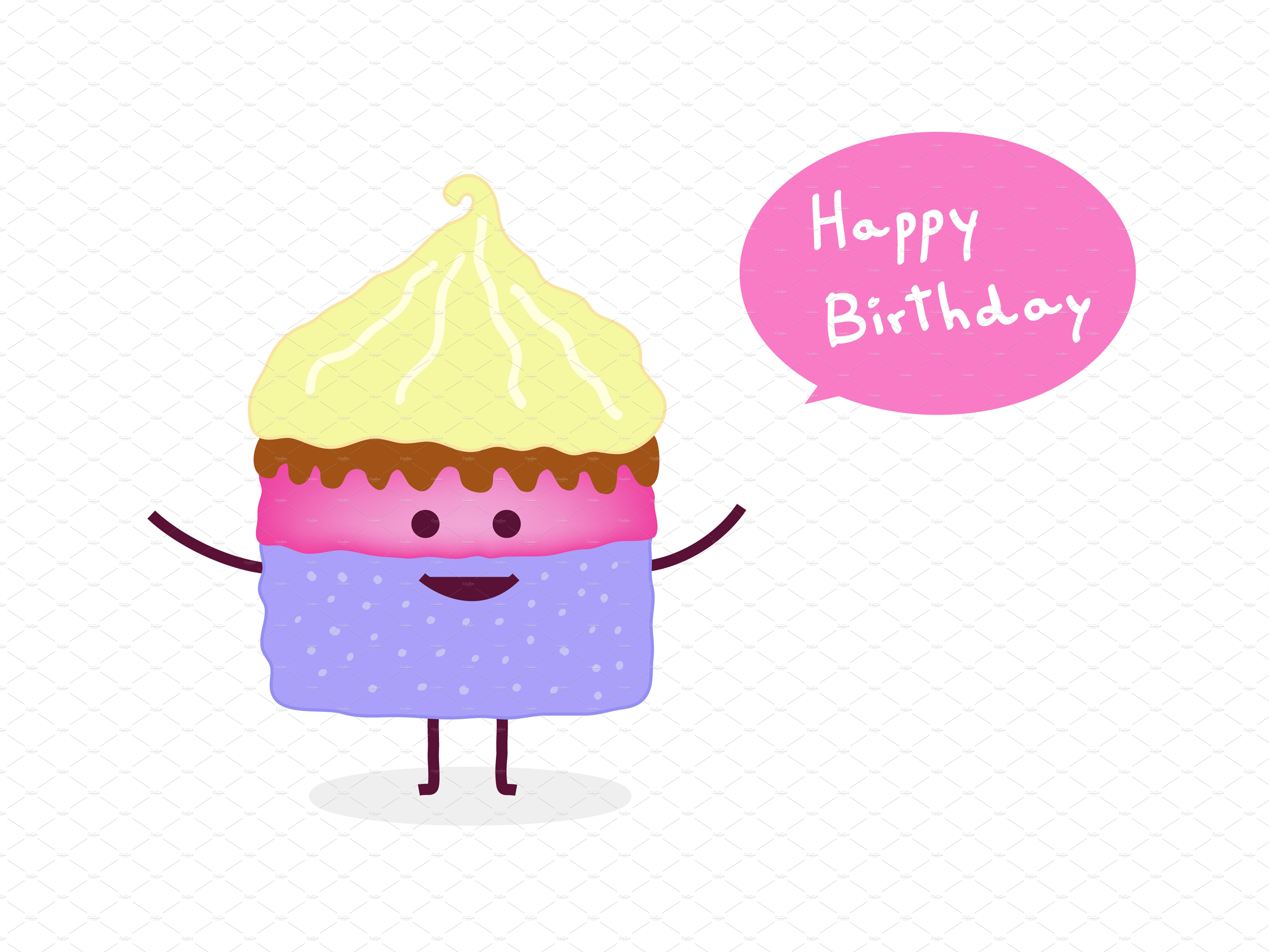 Happy birthday cake ~ Illustrations ~ Creative Market